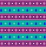 Festive background  with christmas bells and snow flakes. Cute festive purple, blue and white seamless  striped background  with christmas bells and snow flakes Stock Photo