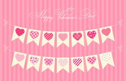Cute festive retro bunting flags with different hearts. Ideal for Valentines day or as wedding decoration Stock Photos