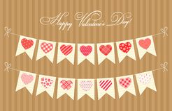 Cute festive retro bunting flags with different hearts. Ideal for Valentines day or as wedding decoration Stock Photography