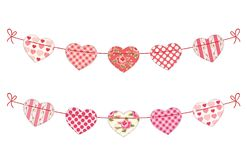 Cute festive retro bunting flags with different hearts. Ideal for Valentines day or as wedding decoration Stock Image