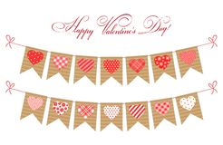 Cute festive retro bunting flags with different hearts. Ideal for Valentines day or as wedding decoration Royalty Free Stock Photography