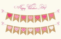Cute Festive Retro Bunting Flags With Different Hearts Stock Photo