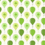 Cute festive seamless background with ballons and clover  on white. For your decoration Stock Photo