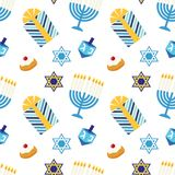 Cute festive seamless pattern Happy Hanukkah in traditional colors. For your decoration Royalty Free Stock Photography