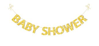 Cute festive vintage bunting for baby shower with beautiful glitter letters stock illustration