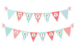 Cute festive vintage Easter bunting flags for your decoration. Cute festive vintage Easter bunting flags with text for your decoration Stock Image