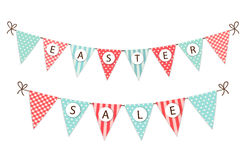 Cute festive vintage Easter bunting flags for your decoration. Cute festive vintage Easter bunting flags with text for your decoration Stock Photos