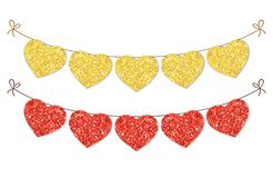 Cute festive vintage glitter hearts as bunting for your decoration. Can be used for wedding, birthday, baby shower, Valentines day, bridal shower or Royalty Free Stock Photos