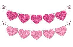 Cute festive vintage glitter hearts as bunting for your decoration. Can be used for wedding, birthday, baby shower, Valentines day, bridal shower or Royalty Free Stock Photography