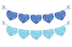 Cute festive vintage glitter hearts as bunting for your decoration. Can be used for wedding, birthday, baby shower, Valentines day, bridal shower or Stock Photos