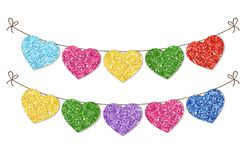Cute festive vintage glitter hearts as bunting for your decoration. Can be used for wedding, birthday, baby shower, Valentines day, bridal shower or Royalty Free Stock Images