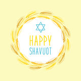 Cute festive wreath Happy Shavuot. Cute festive wreath for jewish holiday Shavuot Stock Photo