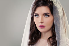Cute Fiancee with Make up, Bridal Hairstyle and Veil Stock Images