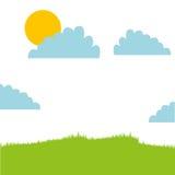 Cute field landscape icon Stock Photography