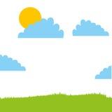 Cute field landscape icon Stock Photo