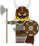 Cute Fierce Masked Viking Warrior. Adorably Cute Fierce Little Norse Viking Warrior with Axe and Shield - Vector Illustration Stock Image