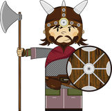 Cute Fierce Viking Warrior. Adorably Cute Fierce Little Norse Viking Warrior with Axe and Shield - Vector Illustration.  An EPS file is also available Royalty Free Stock Photo