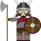 Cute Fierce Viking Warrior. Adorably Cute Fierce Little Norse Viking Warrior Axe and Shield - Vector Illustration Royalty Free Stock Images
