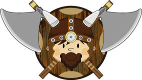Cute Fierce Viking Warrior. Adorably Cute Fierce Little Norse Viking Warrior with Axe and Shield - Vector Illustration Stock Photo