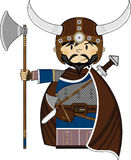 Cute Fierce Viking Warrior. Adorably Cute Fierce Little Norse Viking Warrior with Axe - Vector Illustration Stock Photos