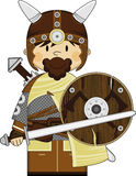 Cute Fierce Viking Warrior. Adorably Cute Fierce Little Norse Viking Warrior with Sword and Shield - Vector Illustration.  An EPS file is also available Royalty Free Stock Photography