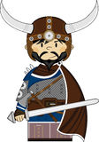 Cute Fierce Viking Warrior. Adorably Cute Fierce Little Norse Viking Warrior with Sword - Vector Illustration Stock Photography