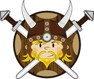 Cute Fierce Viking Warrior. Adorably Cute Fierce Little Norse Viking Warrior with Swords and Shield - Vector Illustration Royalty Free Stock Images