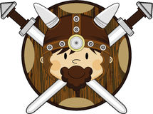 Cute Fierce Viking Warrior. Adorably Cute Fierce Little Norse Viking Warrior Swords and Shield - Vector Illustration Stock Images