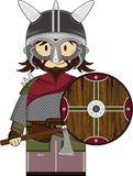 Cute Fierce Viking Warrior. Adorably Cute Masked Fierce Little Norse Viking Warrior with Axe and Shield - Vector Illustration.  An EPS file is also available Royalty Free Stock Photography