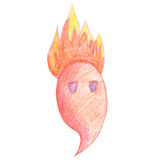 Cute fiery monster draw a pencil. Cute little fiery monster draw a pencil Stock Images