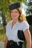 cute fifties hat pillbox redhead Στοκ φωτογραφία με δικαίωμα ελεύθερης χρήσης