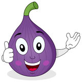 Cute Fig Fruit Character with Thumbs Up Stock Images