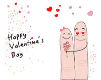 Cute finger valentine day's greeting card vector Stock Photos