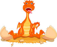 Cute fire dragon cartoon hatching. Illustration of cute fire dragon cartoon hatching Royalty Free Stock Photography
