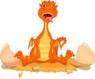Cute fire dragon cartoon hatching Royalty Free Stock Photography