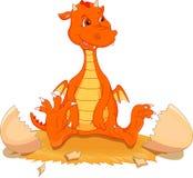 Cute fire dragon cartoon hatching. Illustration of cute fire dragon cartoon hatching Stock Photo