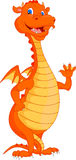 Cute fire dragon cartoon waving Stock Images