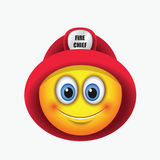 Cute firefighter, fireman, emoticon, wearing red helmet - emoji - vector illustration Stock Images