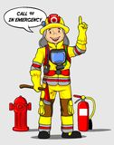 Cute firefighter vector illustration. Cartoon vector or cute illustration Stock Photos