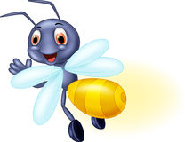 Cute firefly cartoon waving Royalty Free Stock Photography