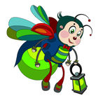 Cute firefly flying with a flashlight. Cute firefly with a flashlight on a white background Royalty Free Stock Image