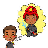 Cute Fireman Boy. Cute little black boy dreaming being a fireman hero extinguishing fire Stock Image