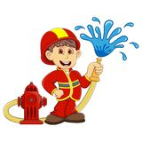 Cute Fireman cartoon. Full color Royalty Free Stock Images