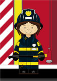 Cute Fireman - Firefighter. Vector illustration of an adorably cute Fireman Girl with Axe Stock Photo