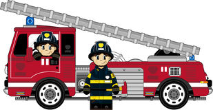 Cute Fireman - Firefighters. Vector illustration of adorably cute Firemen and Fire Engine character Stock Photos