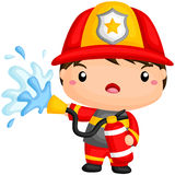 Cute Fireman. A vector of cute fireman spraying water from hose Stock Photo