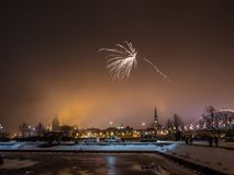 Cute fireworks in west europe country, Royalty Free Stock Image