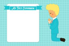 Cute First Communion card for boys. In blue colors Royalty Free Stock Photos