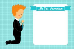 Cute First Communion card for boys. In blue colors Stock Photography
