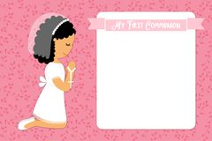 Cute First Communion card for girls. In pink colors Stock Images